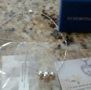 Strerling Silver 3 bead necklace, marked 925